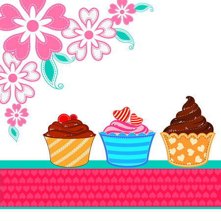 cake background: vector illustration of cup cake in love Valentines Day background