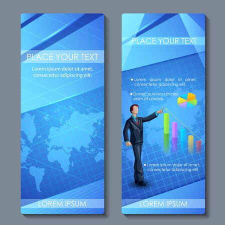 business performance: vector illustration of business executive on corporate brochure design
