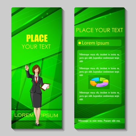 woman business suit: vector illustration of business woman in formal suit on corporate brochure design
