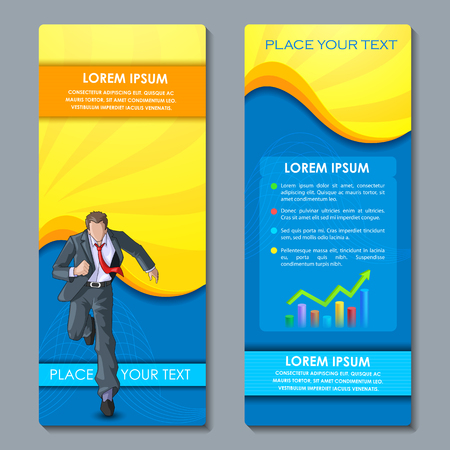 bargraph: vector illustration of business executive on corporate brochure design