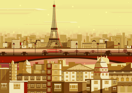 paris france: vector illustration of Eiffel tower in Paris cityscape Illustration