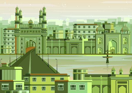 south asian: vector illustration of Charminar in Hyderabad cityscape