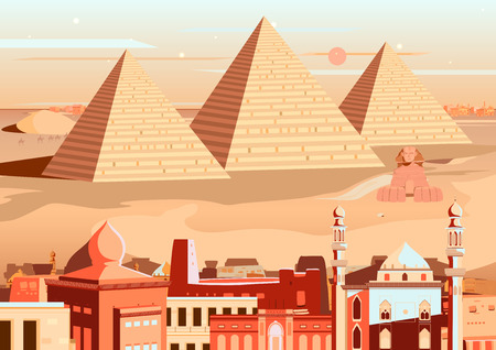 giza: vector illustration of pyramid and Sphinx of Giza, Egypt