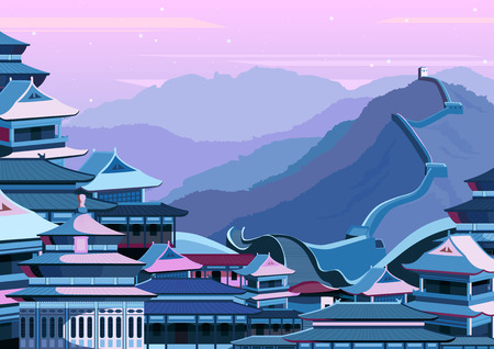 vector illustration of Great wall of China with buildings Vettoriali