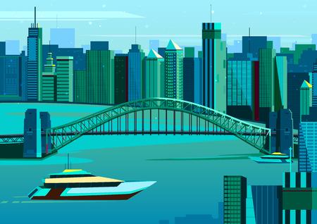 sydney australia: vector illustration of Harbor bridge in Sydney, Australia Illustration