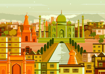 mughal empire: vector illustration of Taj Mahal with different building in India