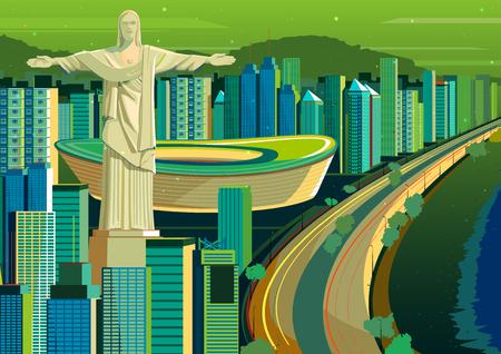 cristo: vector illustration of Christ the Redeemer statue in Brazil