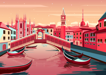 vector illustration of cityscape of Venice, Italy Vettoriali