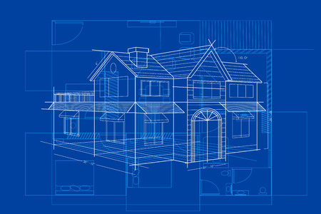modern architecture: easy to edit vector illustration of blueprint of building Illustration