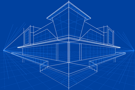 on line shopping: easy to edit vector illustration of blueprint of building Illustration