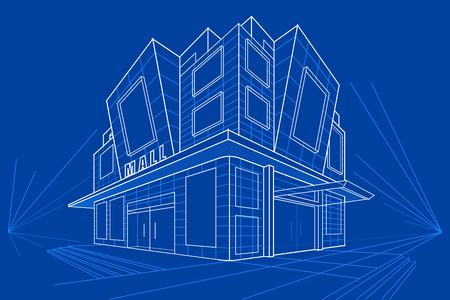 gemakkelijk om vectorillustratie van blauwdruk van de bouw uit te geven