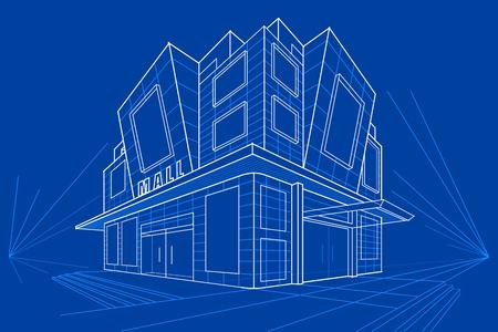 shopping mall: easy to edit vector illustration of blueprint of building Illustration