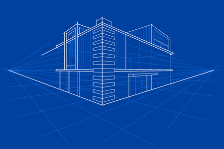 easy to edit vector illustration of blueprint of building  イラスト・ベクター素材