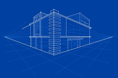 easy to edit vector illustration of blueprint of building Illustration