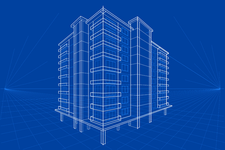 easy to edit vector illustration of blueprint of building Vettoriali