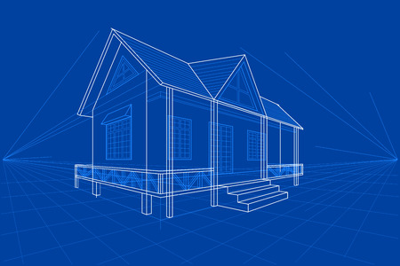 house drawing: easy to edit vector illustration of blueprint of building Illustration