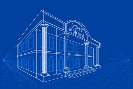post office building: easy to edit vector illustration of blueprint of building Illustration