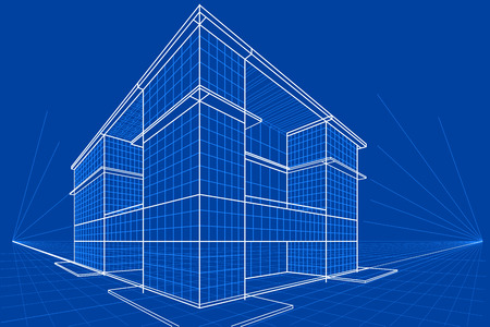 homes exterior: easy to edit vector illustration of blueprint of building Illustration
