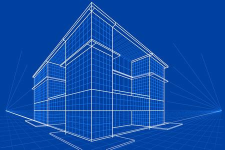 dessin au trait: facile à modifier illustration vectorielle de modèle de bâtiment Illustration
