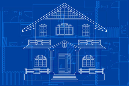 background house: easy to edit vector illustration of blueprint of building Illustration