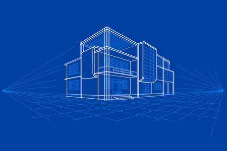 easy to edit vector illustration of blueprint of building 矢量图像