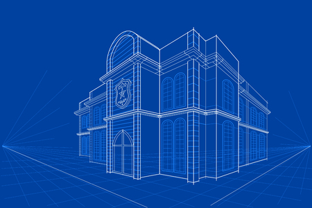 industrial drawing: easy to edit vector illustration of blueprint of building Illustration