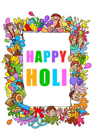 illustration of Happy Holi festival doodle
