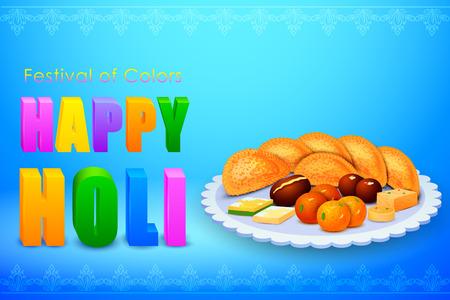 bonbons: Illustration von Holi Feier Hintergrund mit verschiedenen Süßigkeiten
