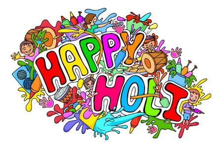 happy holi: illustration of Happy Holi festival doodle