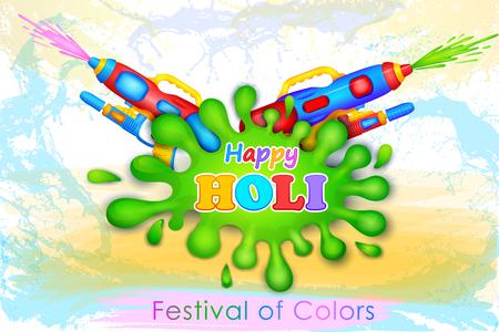 watergun: illustration of Holi celebration background with watercolor gun