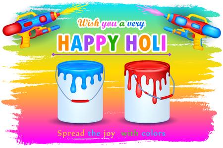 dhulandi: illustration of Holi celebration background with watercolor gun