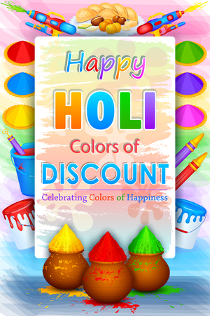 powder: illustration of Holi Sale with color and pichkari for promotion poster