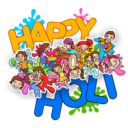 illustration editable: illustration of Happy Holi festival doodle