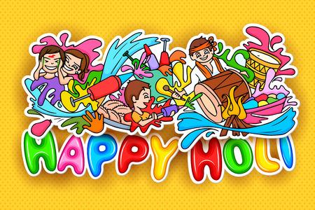 dhulandi: illustration of Happy Holi festival doodle