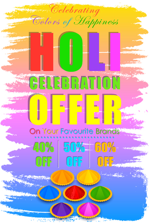 vermilion: illustration of Holi Sale with color and pichkari for promotion poster