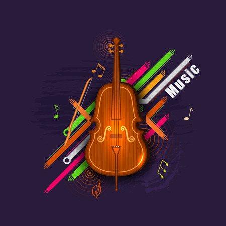 fiddlestick: easy to edit illustration of abstract music background with violin
