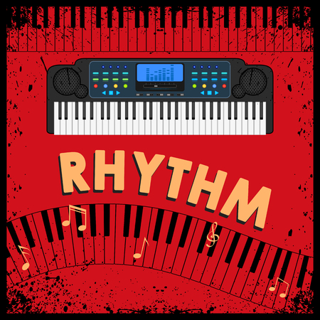 synthesizer: easy to edit illustration of abstract music background with synthesizer Illustration
