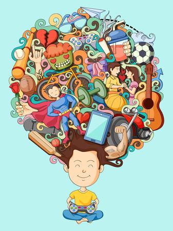 adolescencia: ilustración vectorial de sueño y el pensamiento del adolescente