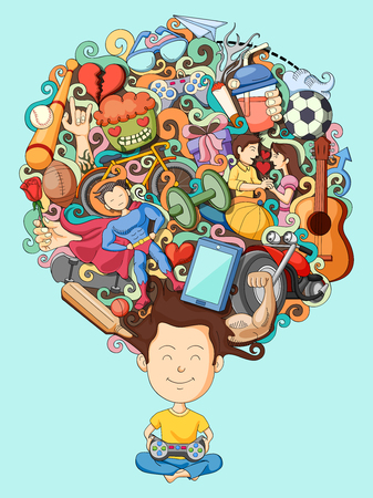 daydreamer: vector illustration of dream and thought of teenage boy