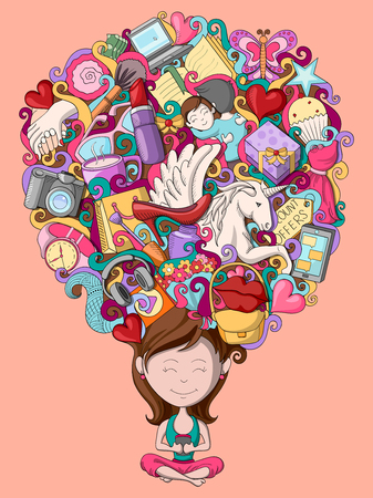 vector illustration of dream and thought of teenage girl