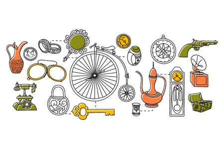vintage riffle: vector illustration of flat line art design of Vintage concept Illustration