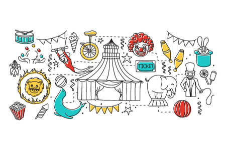 stage costume: vector illustration of flat line art design of Circus concept