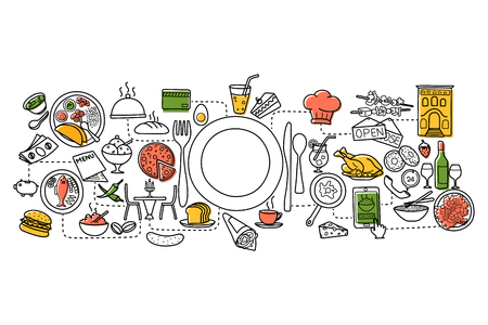 wine and dine: vector illustration of flat line art design of Food and Drink concept