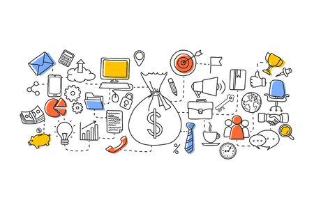 finance concept: vector illustration of flat line art design of Business Finance concept Illustration