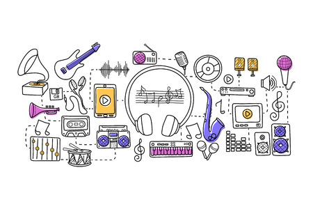 vector illustration of flat line art design of  music concept for web design template Illustration
