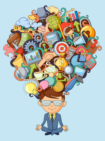 vector illustration of dream and thought of Businessman 일러스트