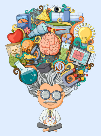vector illustration of dream and thought of scientist