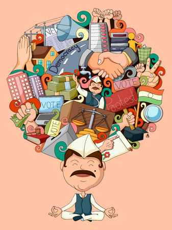 day dreaming: vector illustration of dream and thought of politician