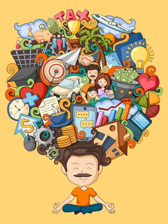 planificacion familiar: ilustración vectorial de sueño y el pensamiento del hombre joven