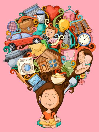 ilustracji wektorowych marzenia i myśli kobieta